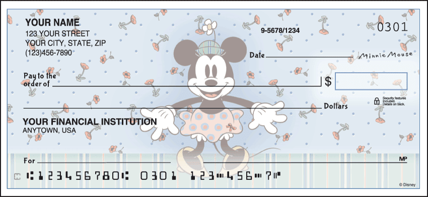Enlarged view of disney minnie mouse checks