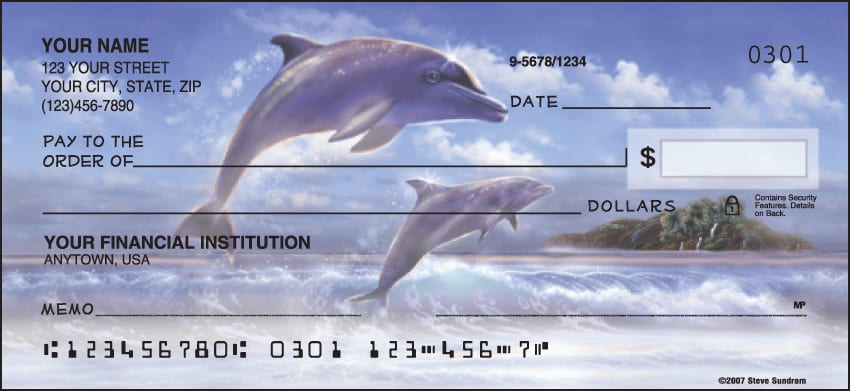Dolphins Checks - click to view larger image