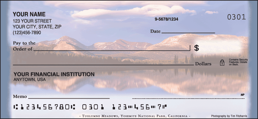 Enlarged view of mountain reflections checks