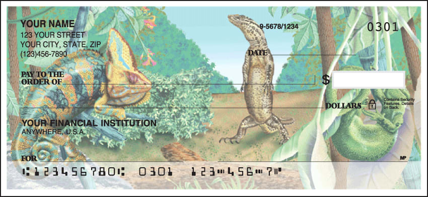 Enlarged view of reptilian checks