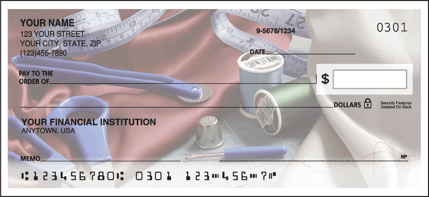 Enlarged view of sewing checks