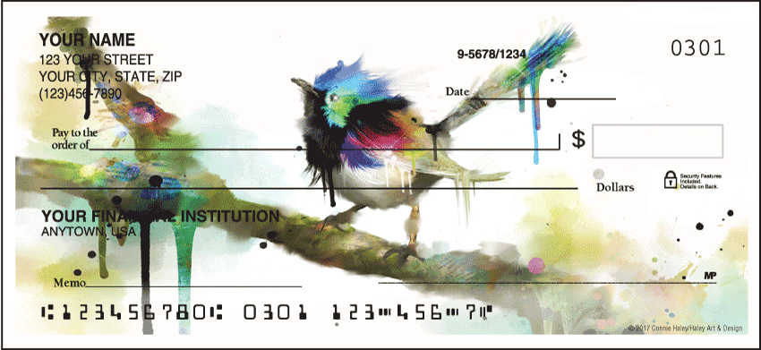 Enlarged view of Watercolor Birds Checks