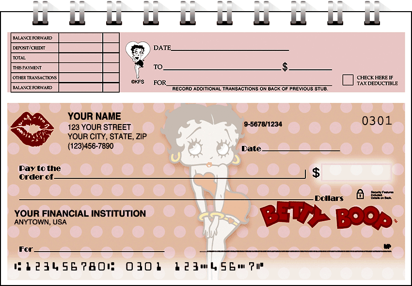 betty boop kisses top stub checks - click to preview