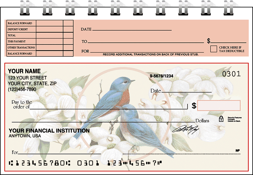 Enlarged view of birds & blossoms top stub checks