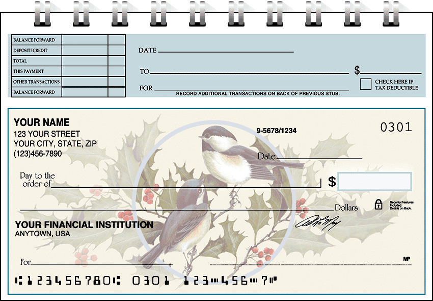 Birds & Blossoms Top Stub Checks - click to preview