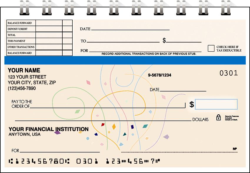 Confetti Top Stub Checks - click to view larger image
