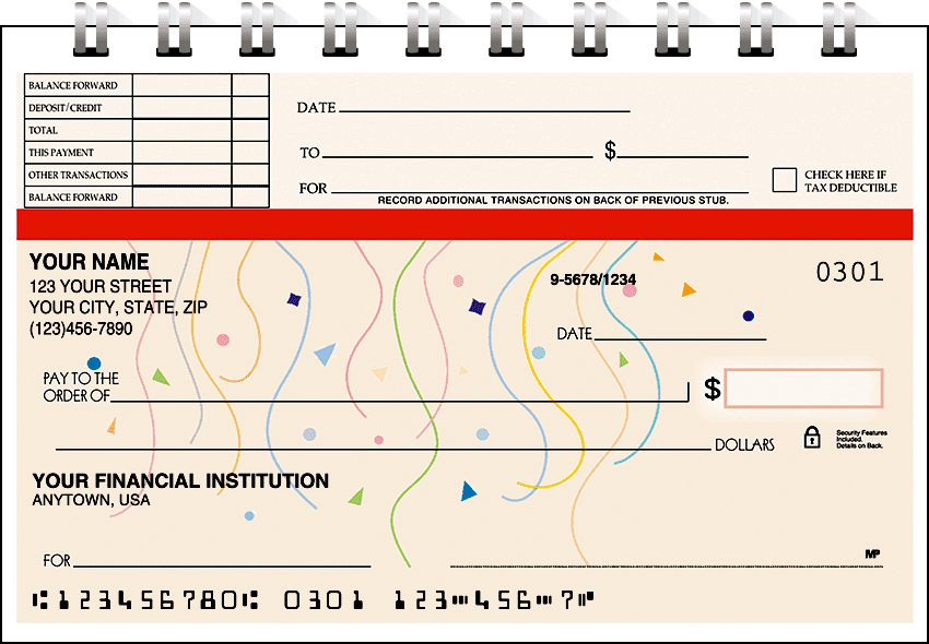 Enlarged view of confetti top stub checks