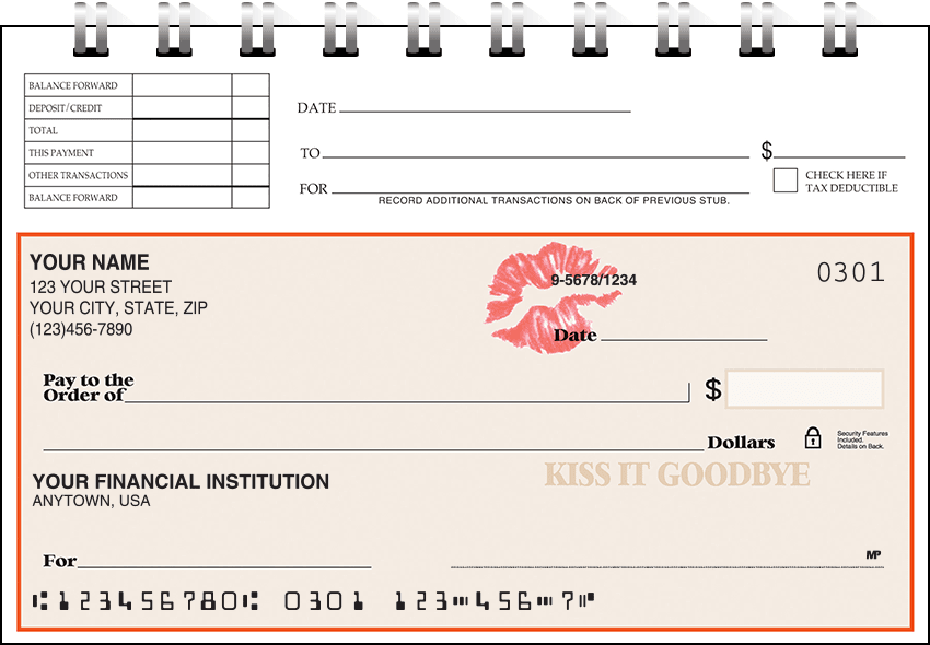 Kiss It Goodbye Top Stub Checks - click to preview