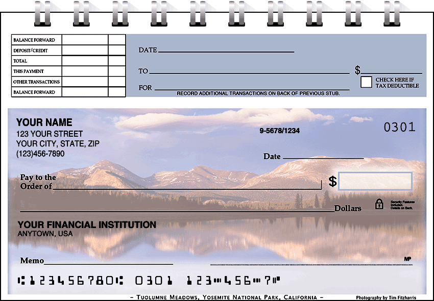 mountain reflections top stub checks - click to preview
