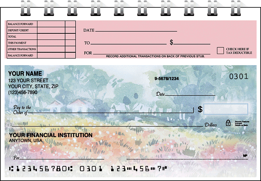 Pastel Gardens Top Stub Checks - click to preview