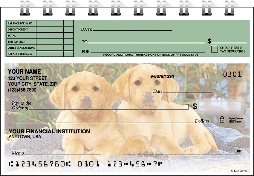 Puppy Pals Top Stub Checks - click to view larger image