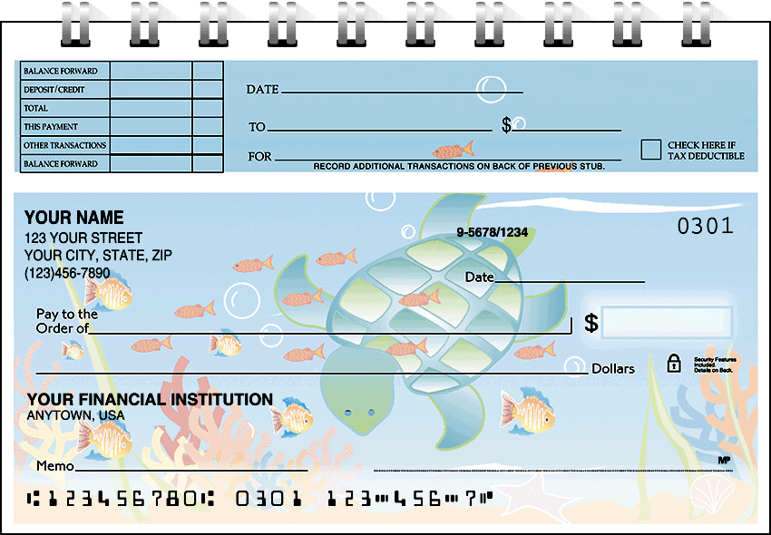 Tropical Fish Top Stub Checks - click to view larger image