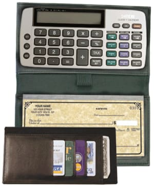 Enlarged view of black bi-fold checkbook calculator