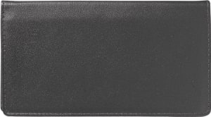 Enlarged view of black leather checkbook cover