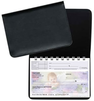Black Leather Top Stub Checkbook Cover – click to view product detail page