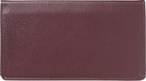 Enlarged view of burgundy leather checkbook cover