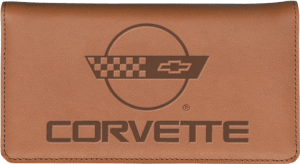 Enlarged view of corvette history leather checkbook cover