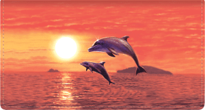 Enlarged view of dolphins leather checkbook cover
