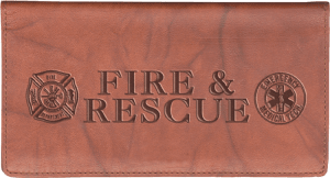 Enlarged view of fire & rescue leather checkbook cover