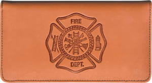 Enlarged view of firefighter leather checkbook cover