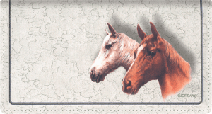 Enlarged view of horses fabric checkbook cover