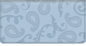 Enlarged view of paisley leather checkbook cover