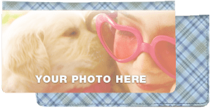 Enlarged view of blue plaid fabric photo checkbook covers