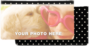 Enlarged view of polka dots fabric photo checkbook covers
