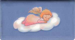 Enlarged view of precious angels leather checkbook cover
