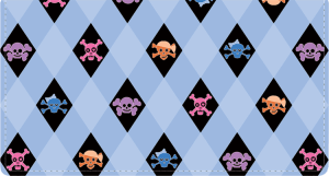 Enlarged view of skullies fabric checkbook cover