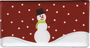Enlarged view of snowman fabric checkbook cover