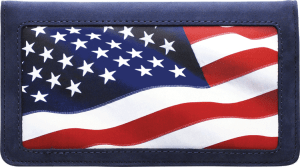 Enlarged view of stars and stripes leather checkbook cover