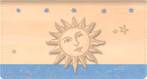 Enlarged view of sun & moon fabric checkbook cover