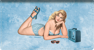 Enlarged view of vintage pin-ups leather checkbook cover