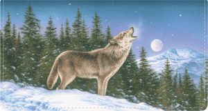 Enlarged view of wolves leather checkbook cover