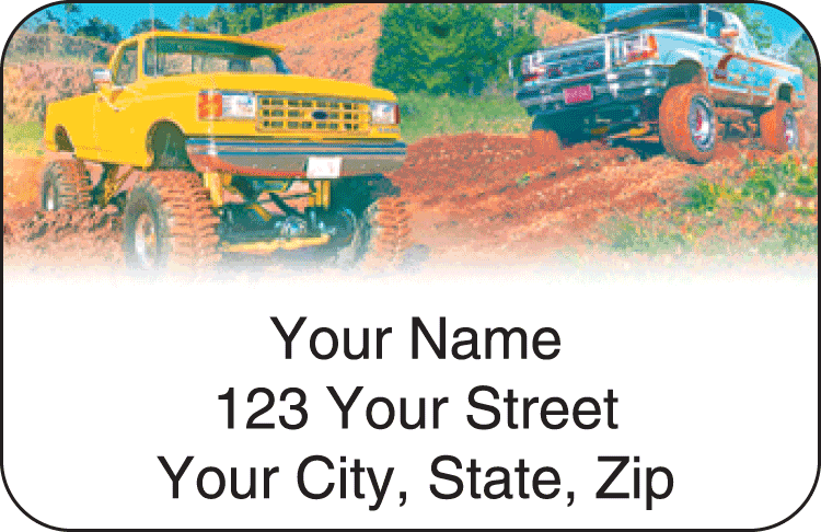 4x4 Wheeler Address Labels - click to view larger image