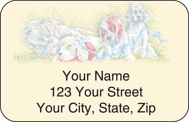 Enlarged view of animal friends address labels