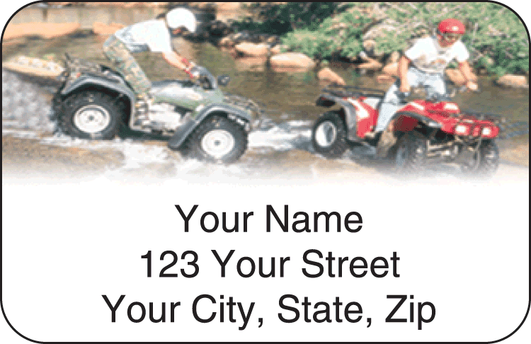 atv dirt wheels address labels - click to preview