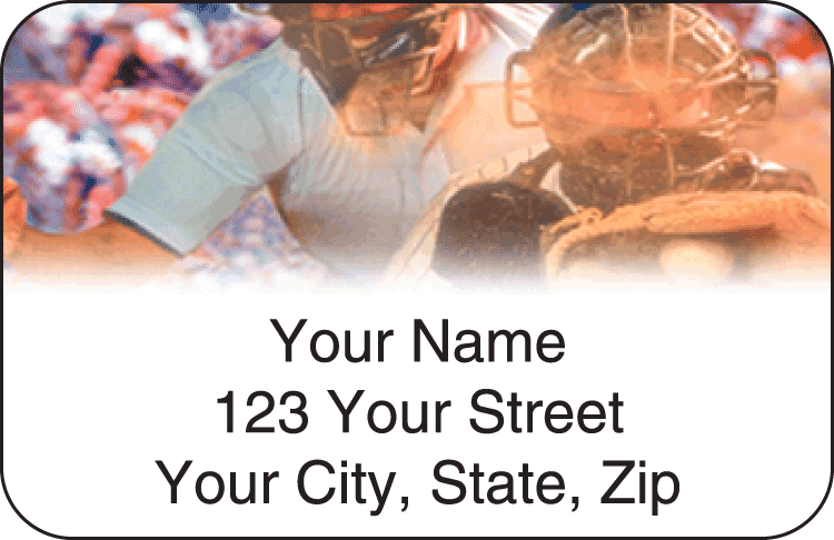 baseball address labels - click to preview