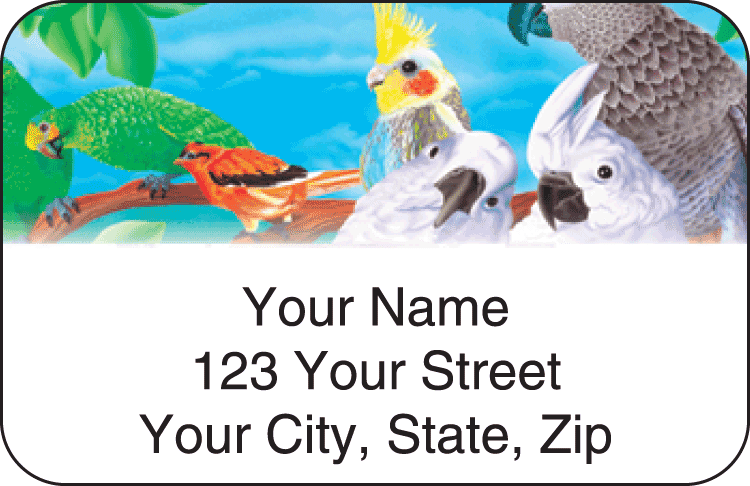 birds of paradise address labels - click to preview