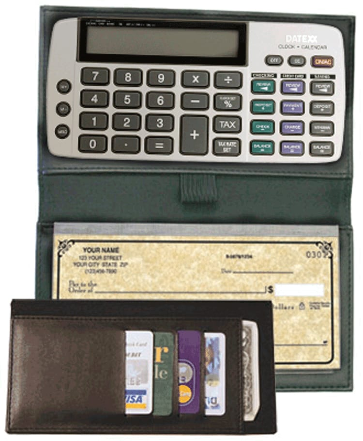 Black Bi-fold Checkbook Calculator