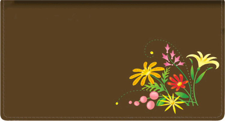 Blooms Leather Checkbook Cover - click to view larger image