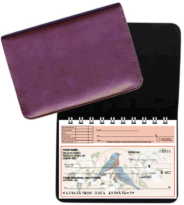 Burgundy Leather Top Stub Checkbook Cover - click to view larger image