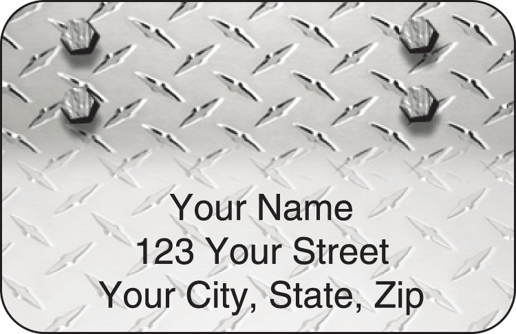 Diamond Plate Address Labels - click to view larger image