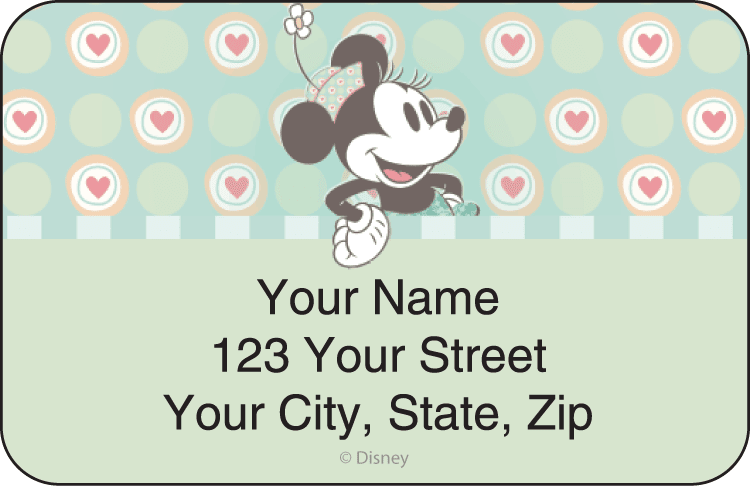 disney vintage minnie address labels - click to preview