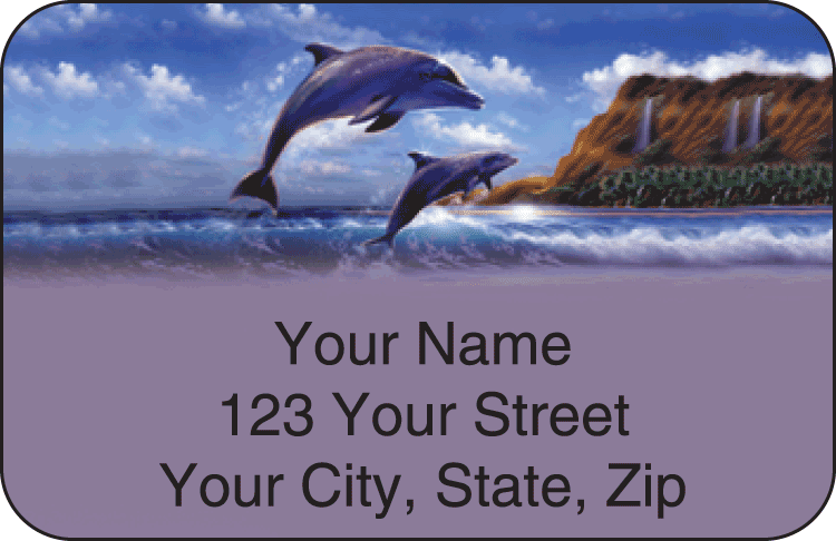 Dolphins Address Labels - click to view larger image
