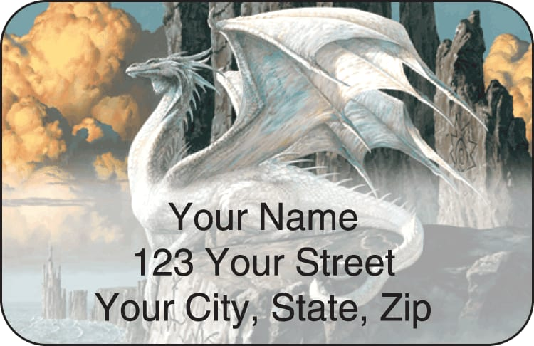 dragons by ciruelo address labels - click to preview