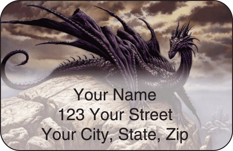 Enlarged view of dragons by ciruelo address labels