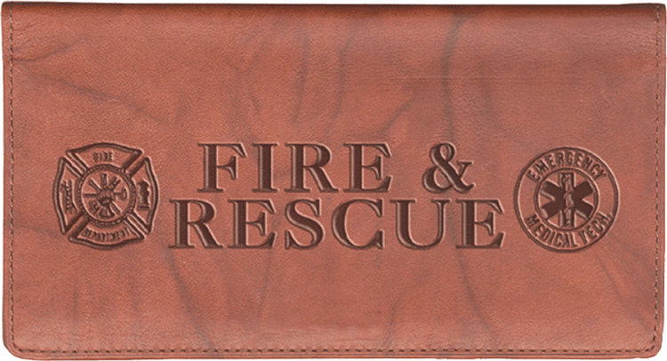 Fire & Rescue Leather Checkbook Cover