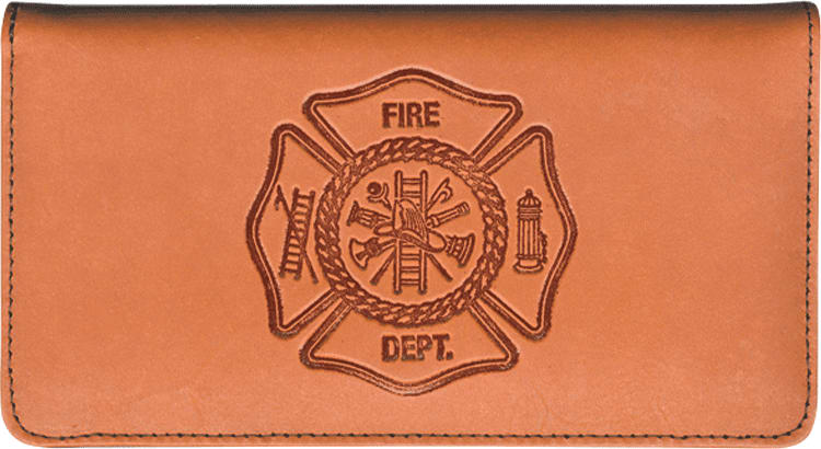 Firefighter Leather Checkbook Cover